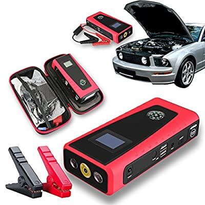 Indigi Sleek Portable 12000mAh Emergency Car Jump Starter & Power Bank Travel Kit for SmartPhones + Laptops