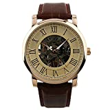 ESS-Rose-Golden-Skeleton-Hand-winding-Mechancial-Brown-Leather-Wrist-Watch-Classic-Mens-Man-WM273-ESS