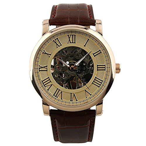 ESS-Rose-Golden-Skeleton-Hand-winding-Mechancial-Brown-Leather-Wrist-Watch-Classic-Mens-Man-WM273-ESS
