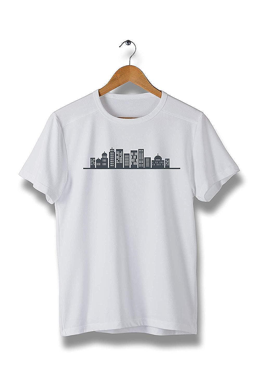 Black Big Building Silhouette Short Sleeve T-Shirt Modern Tees for Men Y285