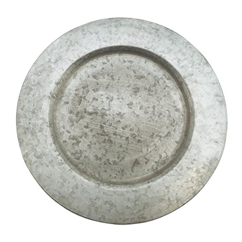 "Fennco Styles Galavanized Rustic Metal 13"" Charger Plates-Set of 4"