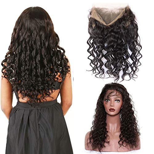 360 Frontal Loose Wave Clsoure Only With Baby Hair Pre Plucked Lace Closure Small Bleach Knots Short Tracks 10A Mink Wet And Wavy Brazilian Remy Virgin Natural Black Human Hair Bundles 12 Inch (Adjustable Knot Closure)