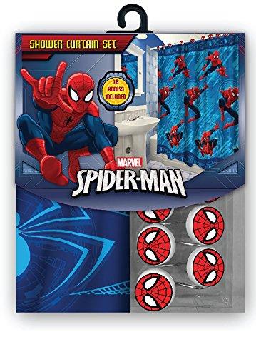 [해외]모든 12 개의 매칭 후크가있는 새로운 패브릭 마블 샤워 커튼 세트 (스파이더 맨)/All New Fabric Marvel Shower Curtain Set with 12 Matching Hooks (Spiderman)