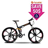 Cyrusher FR100 Folding Mountain Bike Full Suspension 24 Speeds Shimano Shifter with Aluminium Frame Disc Brake and Suspension Fork for Men