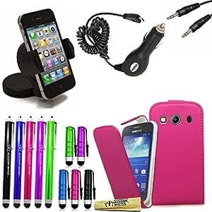 Maestro de accesorios - series de 15 con cartera de vivienda, de gel de silicona, estuche rígido híbrido, protector de pantalla, 10 lápices de colores, doble 3.5mm adaptador de jack de 3,5 mm estéreo, cargador de coche, soporte para coche universal Samsung ace 4, Nokia Asha 301, galaxia alfa, iphone 6, 6 más, htc E8, E3, 5c, as Nxt, ot-3040, C1 ot 4 rosa Samsung ACE