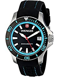 Womens 01.0621.105 Sea Force 3H Analog Display Swiss Quartz Black Watch · Wenger