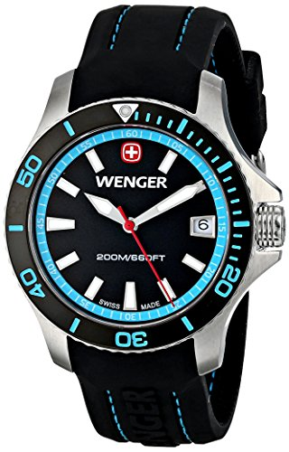 Wenger Women's 01.0621.105 Sea Force 3H Analog Display Swiss Quartz Black Watch