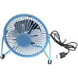 Dovewill Mini USB Mobile Silent Metal Fan Perfect for Laptop Notebook, Desk Table Fan 4 Inch Blue
