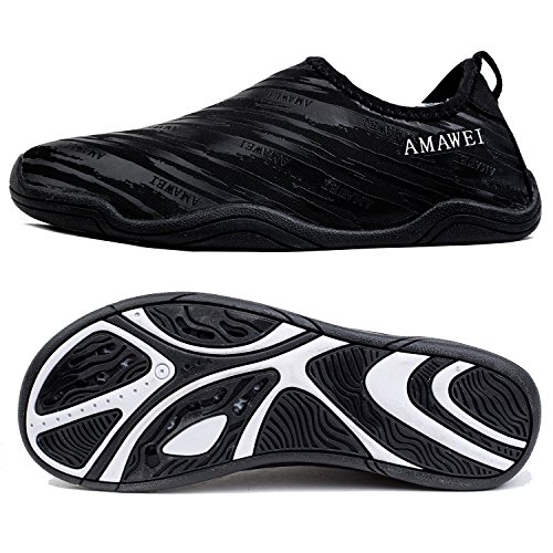 AMAWEI Quick Dry Water Shoes for Boys Girls Kids Rubber Sole Slip-on Swimming Pool Beach Sports Aqua Sneakers (35, 03.Black)