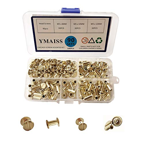 (YMAISS 90 Sets Chicago Screws 3 Size 1/4,3/8,1/2in Post Rivets Screw Belt Screws Screw Posts Bookbinding Posts Binding Screw Chicago Button Leather Photo Albums Screw Round Flat Head, Gold Color)