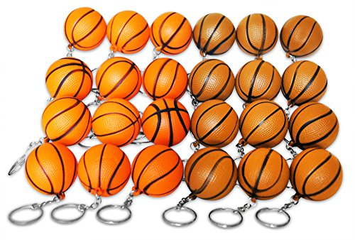 Novel Merk 24 Basketball Sports Ball Keychains Pack Includes Orange & Brown for Kids Party Favors & School Carnival Prizes by Novel Merk