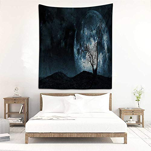 Living Room Tapestry Fantasy Night Moon Sky with Tree Silhouette Gothic Halloween Colors Scary Artsy Background Living Room Background Decorative Painting 70