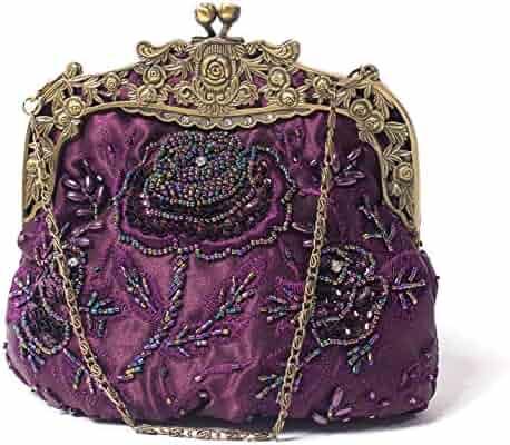 646dda49a16444 ILISHOP Women's Antique Beaded Party Clutch Vintage Rose Purse Evening  Handbag