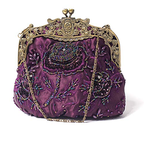 ILISHOP Women's Antique Beaded Party Clutch Vintage Rose Purse Evening Handbag (Purple)