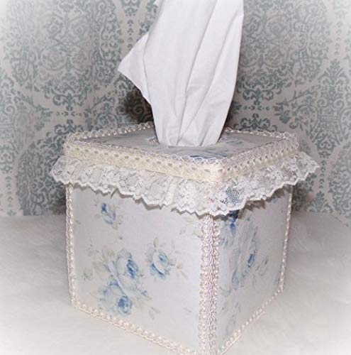 Cottage Chic Style Light Blue Shabby Roses Tissue Cover ()