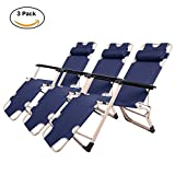 Cheap Lucky Tree 3 Pack Adjustable Patio Chaise Lounge Chair Outdoor Flat Floding Camping Chairs Recliner for Beach