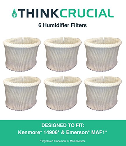 6 Kenmore & Emerson Humidifier Wick Filters, Fits Kenmore EF1 14906 & Emerson MAF1, Compare to Kenmore Part # 42-14906, 14906, EF1, MAF1, Designed & Engineered by Crucial Air by  Crucial Air