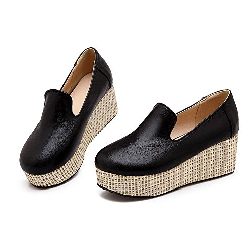 AllhqFashion Womens Blend Materials Solid Pull On Round Closed Toe Kitten Heels Pumps-Shoes Black r9Nqco69P