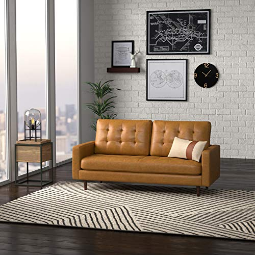 """Amazon Brand – Rivet Cove Mid-Century Modern Tufted Sofa with Tapered Legs, 72""""W, Caramel"""