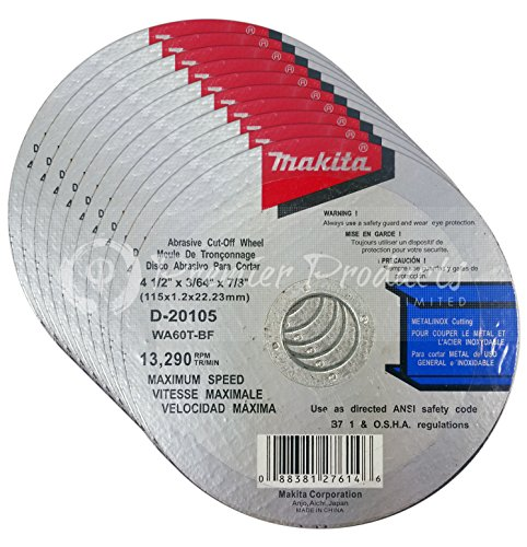 "Makita 10 Pack - 4.5"" Cut Off Wheels For Grinders - Aggressive Cutting For Metal & Stainless Steel/INOX - 4-1/2"" x .045 x 7/8-Inch"