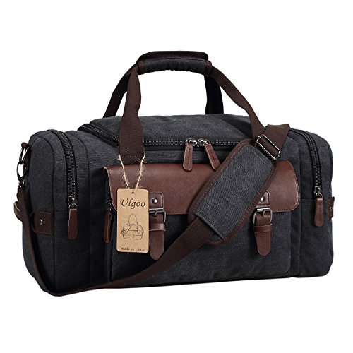 (Ulgoo Canvas Leather Weekender/Overnight Travel Duffel Bag (Black))