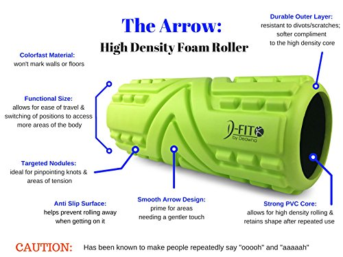 """High Density Foam Roller from D Fit by Deawna, The Arrow, Targeted Nodules for PinPointing Knots and Areas of Tension, Hollow, Anti Slip Surface, 13""""X5.5"""", WARRANTY, FREE HOW TO VIDEOS"""