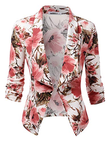 Doublju Womens Casual Work 3/4 Sleeve Open Front Blazer Jacket with Plus Size FLORALPINK 2X ()