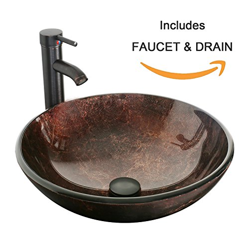 eclife Bathroom Modern Artistic Vessel Sink Combo Modern Round Tempered Glass Basin Oil Rubbed Bronze 1.5 GPM Water Save Faucet Pop Up Drain A09 by Eclife