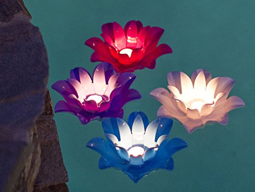 Poolmaster 54513 Set of Four Floating Lotus Tea Lights, Multicolor