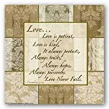 "Words To Live By - Damask Silk: Love is Patient by Marilu Windvand 10""x10"" Art Print Poster"