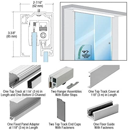 Crl Single Sliding Door With Fixed Panel Wall Or Ceiling Mount
