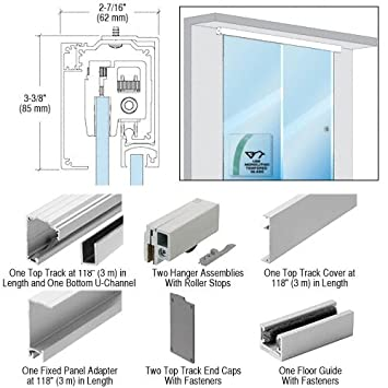 CRL Single Sliding Door With Fixed Panel Wall Or Ceiling Mount Installation  Kit For 5/