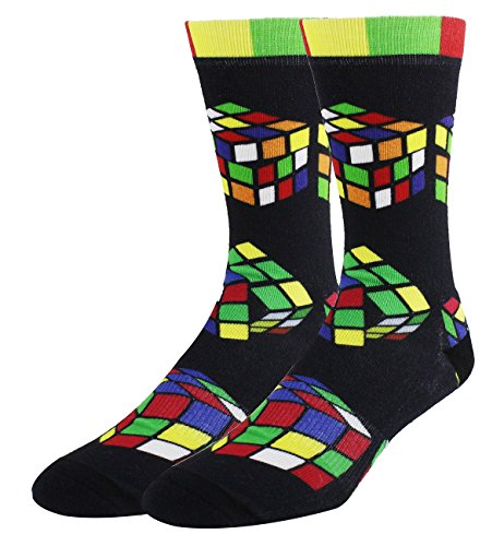 Unisex Funny Crazy Color 3D Puzzle Stripe Candy Pattern Athletic Sports Crew Tube Socks,Rubiks Cube,Medium