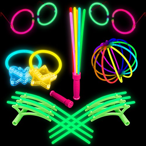 Lumistick Glowstick Bracelet Connectors and Toys Bundle - Neon Light Up Party Favors with 100 8