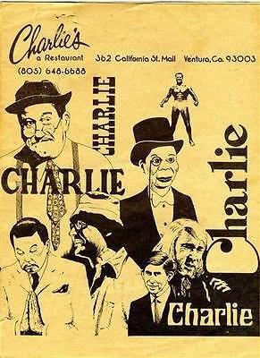 Charlie's A Restaurant Menu California St Mall Ventura California - Ventura Mall