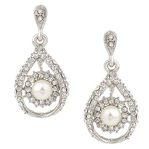 EVER FAITH Silver-Tone Austrian Crystal Simulated Pearl Bridal Tear Drop Dangle Earrings Clear