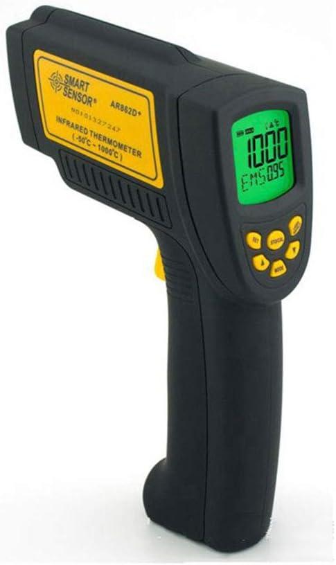 YBZS Termometro Febbre,Termómetro De Infrarrojos De Mano, De Alta Precisión Termómetro Termómetro Industrial, Laser Termómetro De Infrarrojos, Anti-Caída (Negro)