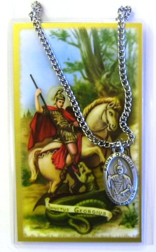 Saint George 1-inch Pewter Medal Pendant Necklace with Holy Prayer - Medal Necklace Holy