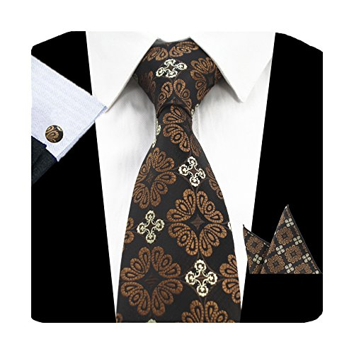 GUSLESON Fashion Brown Men Tie Set Floral Necktie with Handkerchief and Cufflinks (06) - Pattern Necktie Cufflinks