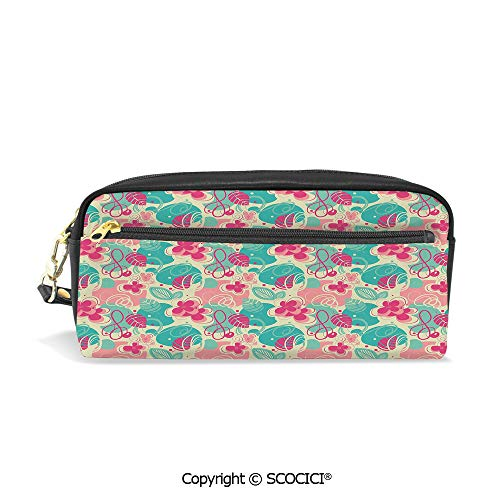 Students PU Pencil Case Pouch Women Purse Wallet Bag Retro Beauty Branches Swirls Honeysuckle Blooms Ornament Design Decorative Waterproof Large Capacity Hand Mini Cosmetic Makeup Bag ()