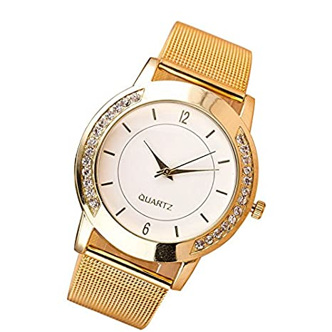 Amazon.com: Womens Watch,Fashion Geneva Crystal Wristwatch Stainless Steel Quartz Round Clock Axchongery (Golden 1): Musical Instruments