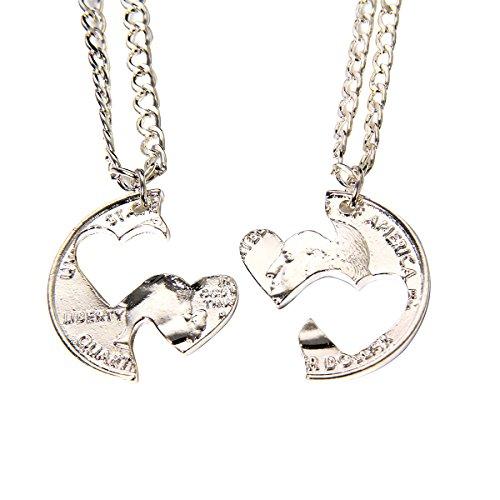 [Silver Tone BFF Best Friend 2 Pieces Coin Split Puzzel Lover Couple Pendant Necklace (Love Heart)] (2 Person Halloween Costume)