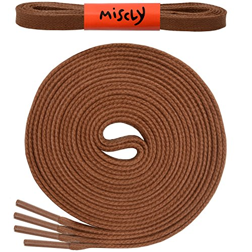 """Flat Waxed Cotton Boot Laces Shoelaces [3 Pairs] 1/4"""" Wide - By Miscly (45"""", Brown)"""