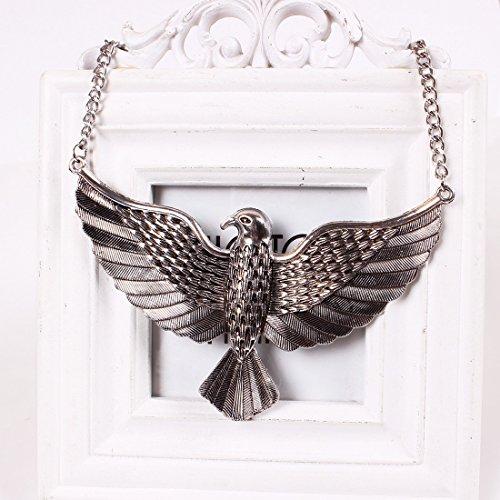 Qiyun Or Argent Aigle Montant Pendentif Oiseau Chaine Bavoir Balancent Boucle D'Oreille Argent Pendentifs Collier