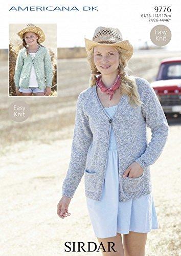 51f11dca0 Sirdar Ladies Girls Americana DK Cardigan Knitting Pattern 9776  Amazon.co. uk  Kitchen   Home