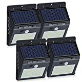 Brinonac 30LEDs Solar Lights Outdoor, Waterproof Wireless Solar Motion Sensor Security LED Wall Lights, with Grade A+ Battery,Solar Light for Outdoor,Front Door,Back Yard,Garage,Porch(4-Pack)
