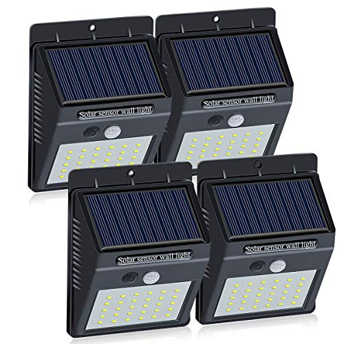 Brinonac 30LEDs Solar Lights Outdoor, Waterproof Wireless Solar Motion Sensor Security LED Wall Lights, with Grade A+ Battery,Solar Light for Outdoor,Front Door,Back Yard,Garage,Porch(4-Pack) ()