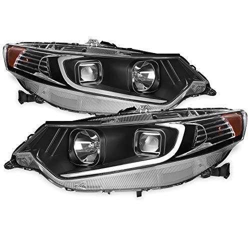 (For 09-14 Acura TSX CU2 LED Daytime Running light DRL Black Bezel Projector Headlights Driver + Passenger Side )