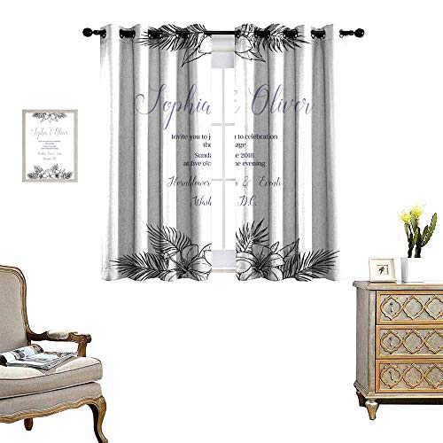 blackout curtains for bedroom Hand drawn vector illustration - wedding invitation with bouquets of tropical flowers and palm branches Summer time Perfect for invitations greeting Drapes W120