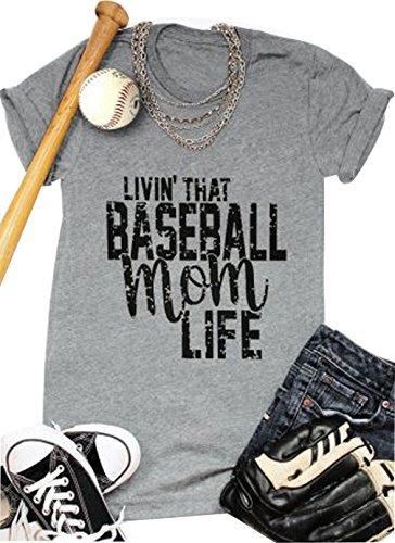 (LONBANSTR Women Livin'That Baseball Mom Life T Shirt Short Sleeve Tops Tee)
